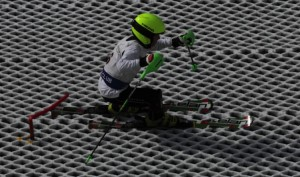 Alex skiing at the All England, Norfolk Aug 2014